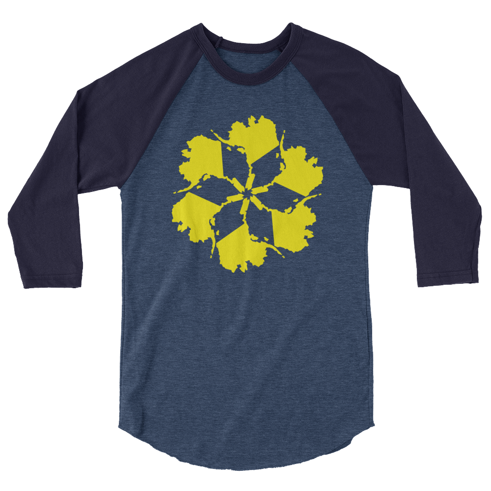 Image of Unisex AK Spiral 3/4 Sleeve - Navy/Yellow