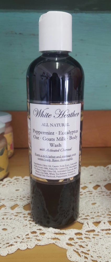 Image of Peppermint & Eucalyptus Goats Milk Body Wash with Activated Charcoal