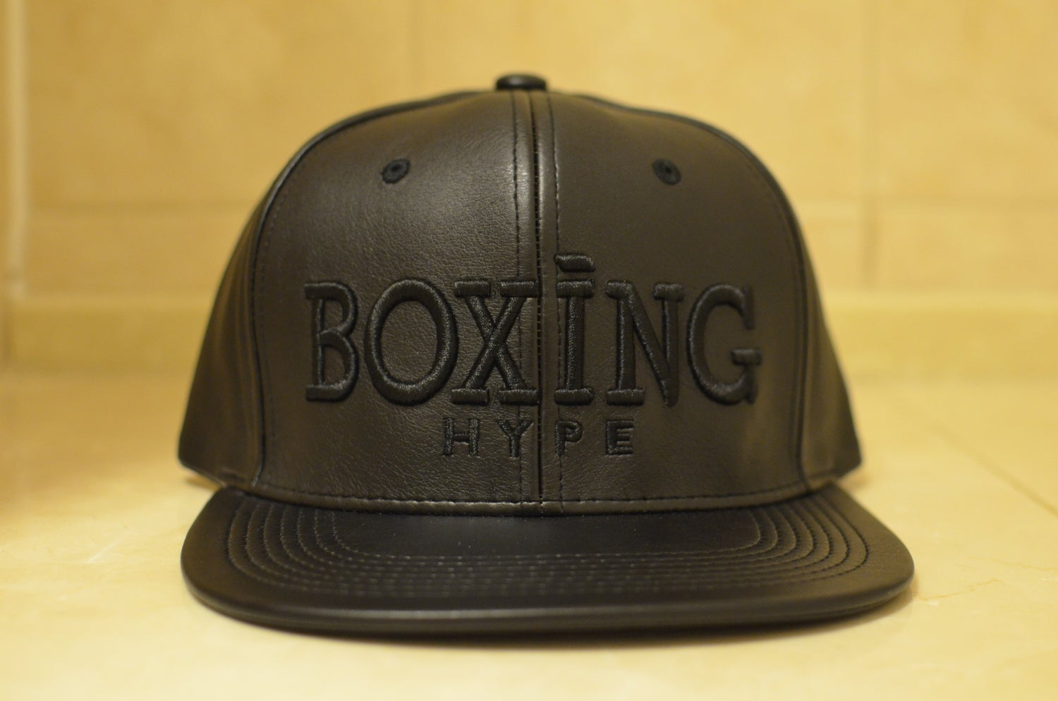 Image of Black on Black leather Snapbacks
