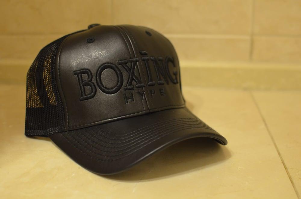 Image of Classic Black Leather Trucker BoxingHype SnapBacks