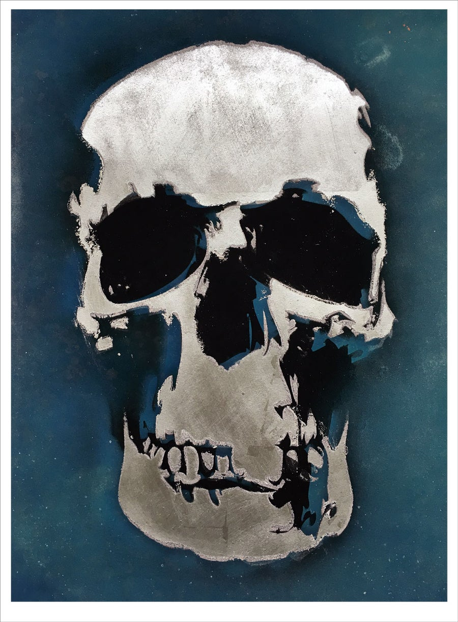 Image of 'Mr Blue Skull' silver leaf screen print.