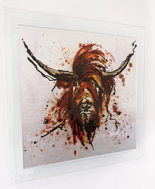 Image of Highland Cow glass art picture
