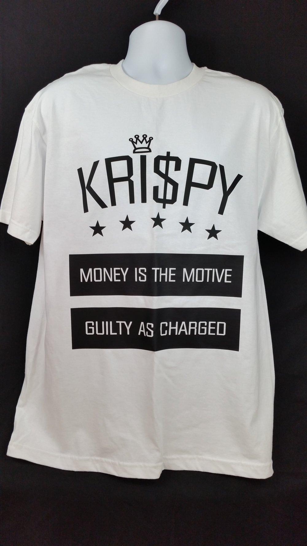 Image of KRISPY MONEY IS THE MOTIVE CREWNECK TEE