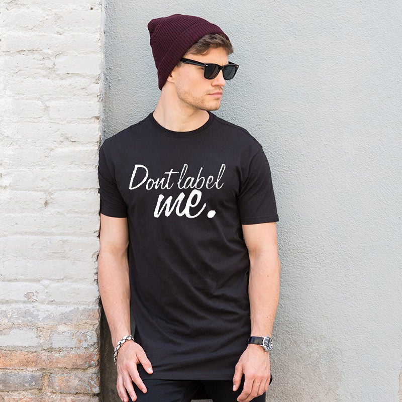 "Image of Men's ""Don't Label Me"" Black Longline T-Shirt with dipped hem"