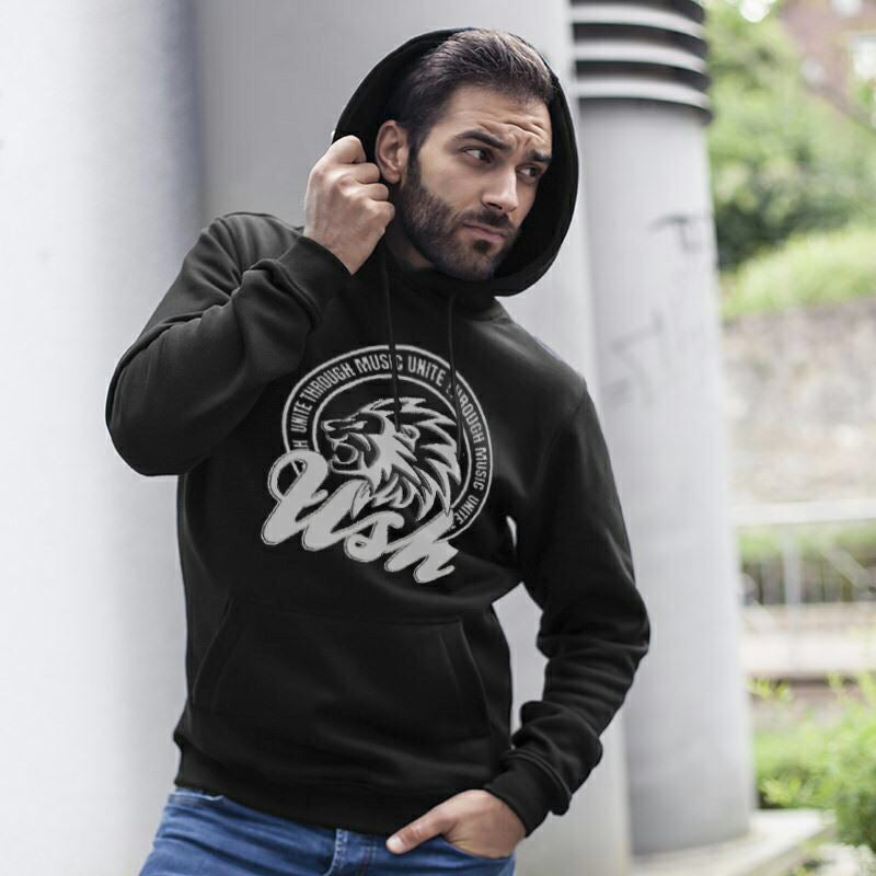 "Image of Men's ""USH Lion"" Charcoal Pull Over Hoodie"