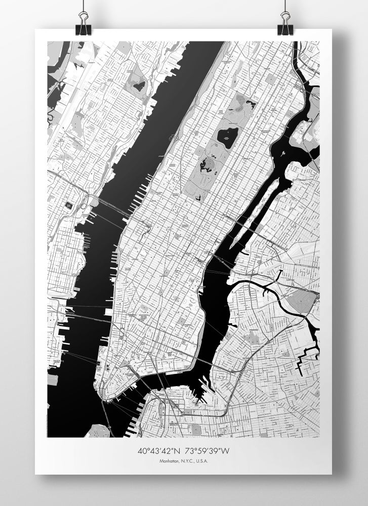 Image of Manhattan Map Poster - B&W