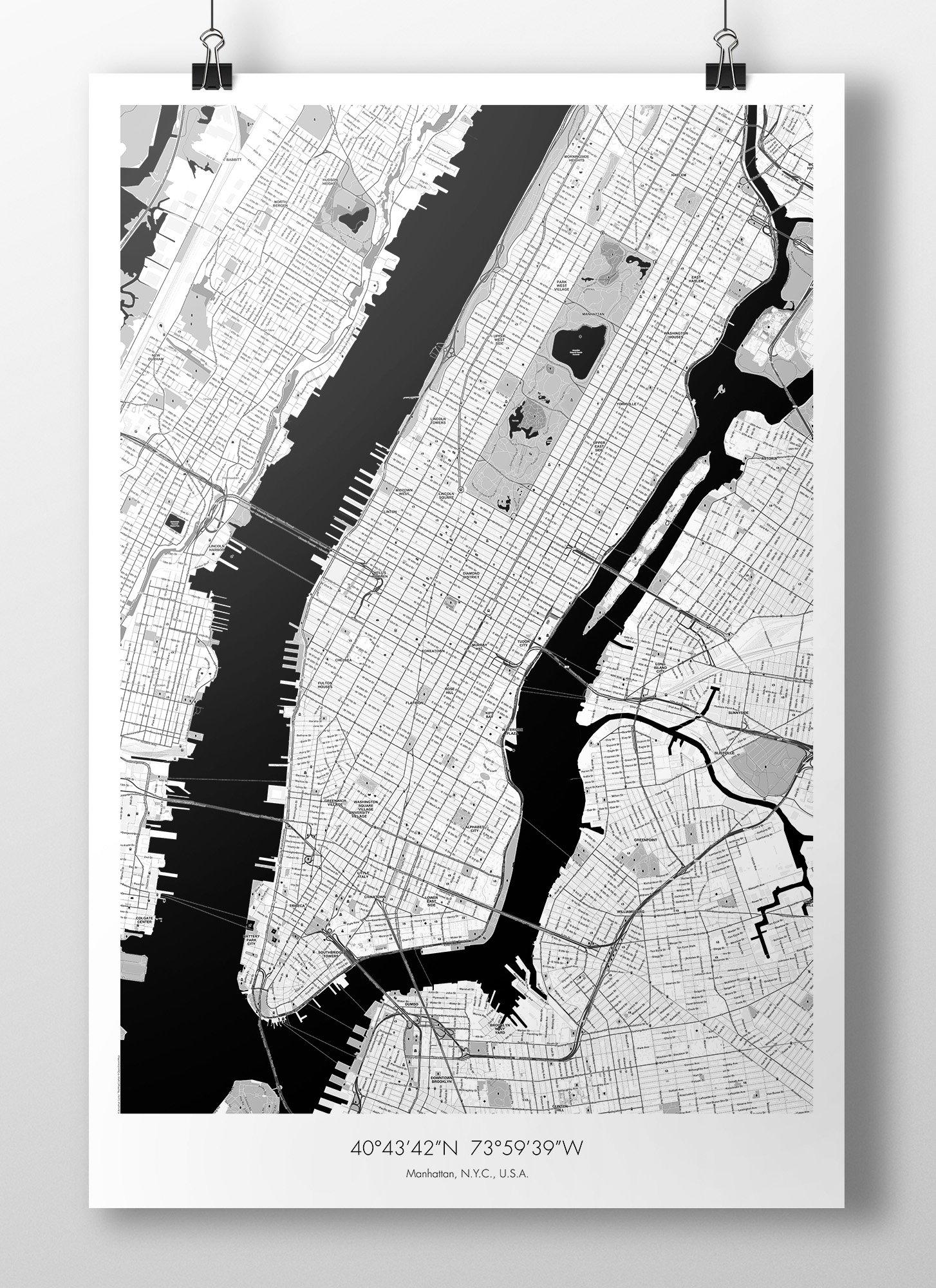 Image of Manhattan Map Poster - B&W