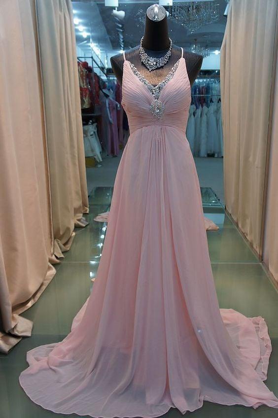 V-neckline Pink Chiffon Beaded Prom Dresses, Pretty Prom Dresses, Evening Dresses