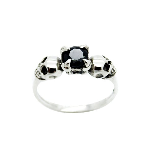 Image of Sterling Silver & Black Onyx  Till Death Ring Petite