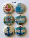 Nautical Themed  Flair Buttons