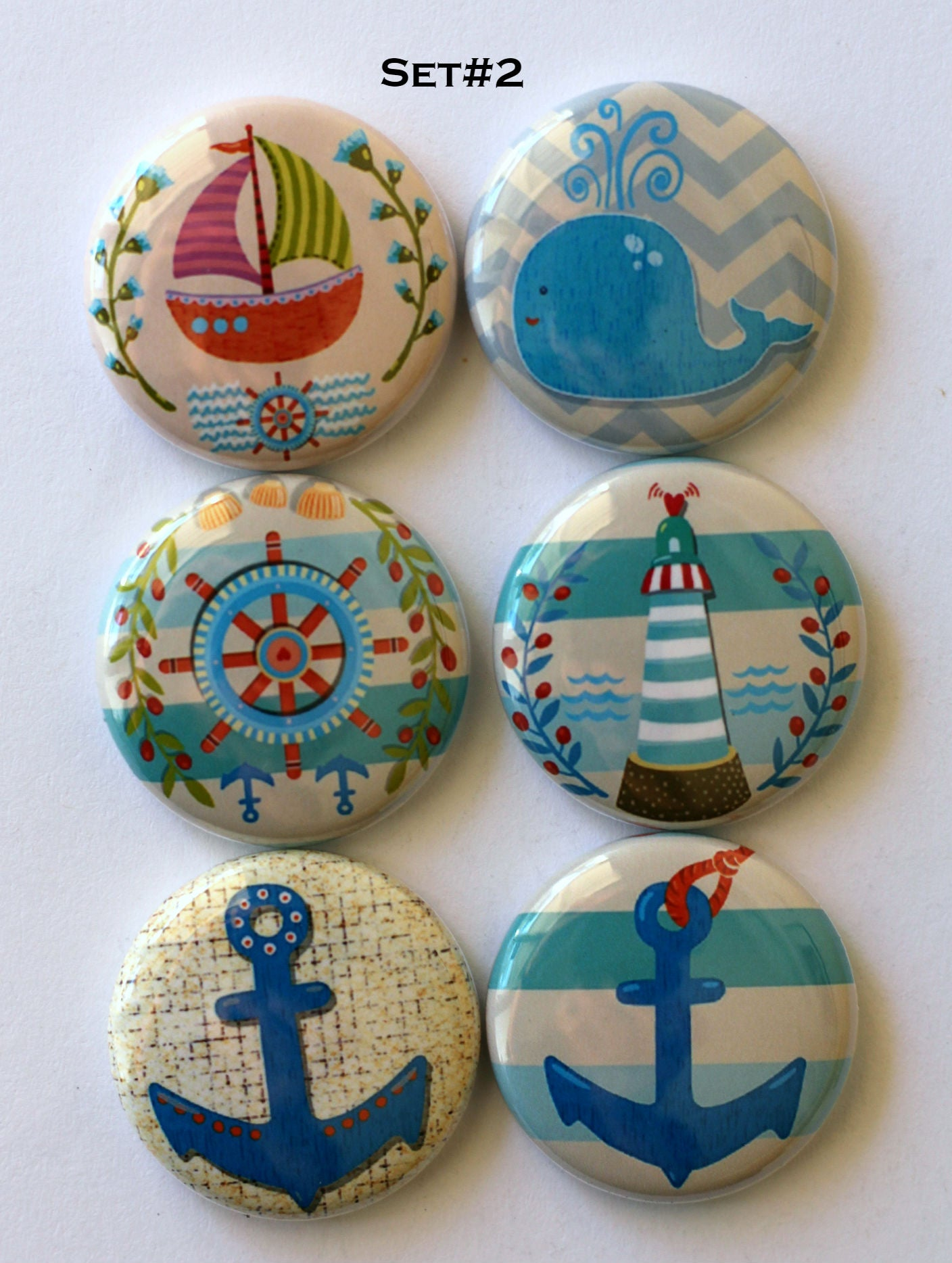 Image of Nautical Themed  Flair Buttons