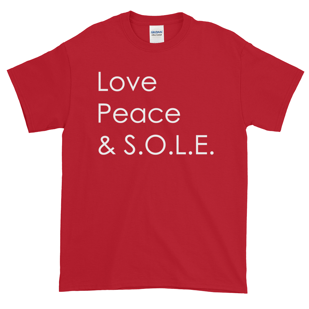 Image of Love Peace & S.O.L.E. Unisex Tee Cherry Red