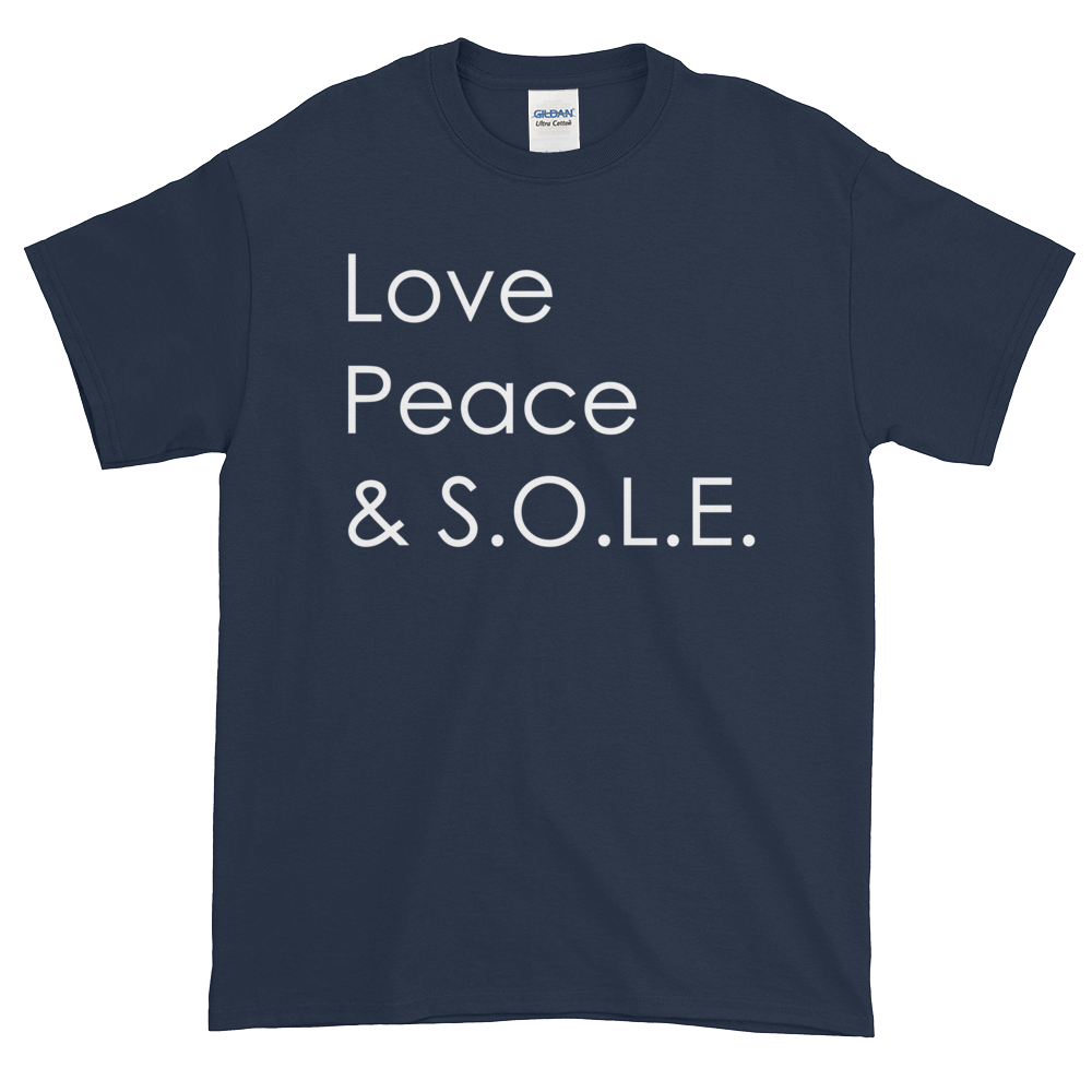 Image of Love Peace & S.O.L.E. Unisex Tee Navy
