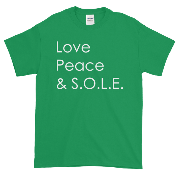 Image of Love Peace & S.O.L.E. Unisex Tee Kelly Green
