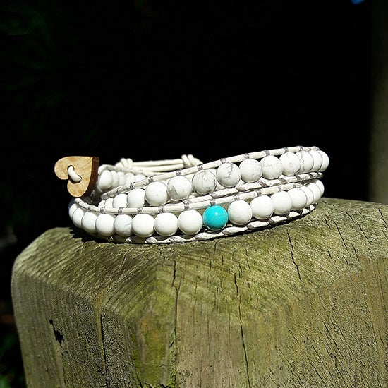 Image of White Howlite Beads on White Leather Double Wrap Bracelet