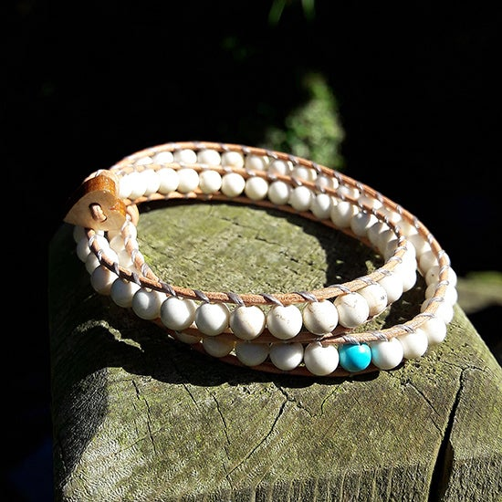 Image of White Coral Beads on Natural Leather Double Wrap Bracelet