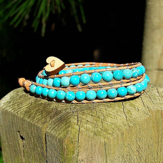 Image of Turquoise Beads on Natural Brown Leather Double Wrap Bracelet