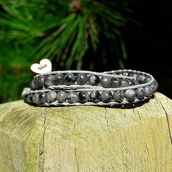 Image of Grey Larvikite Beads on Grey Leather Double Wrap Bracelet
