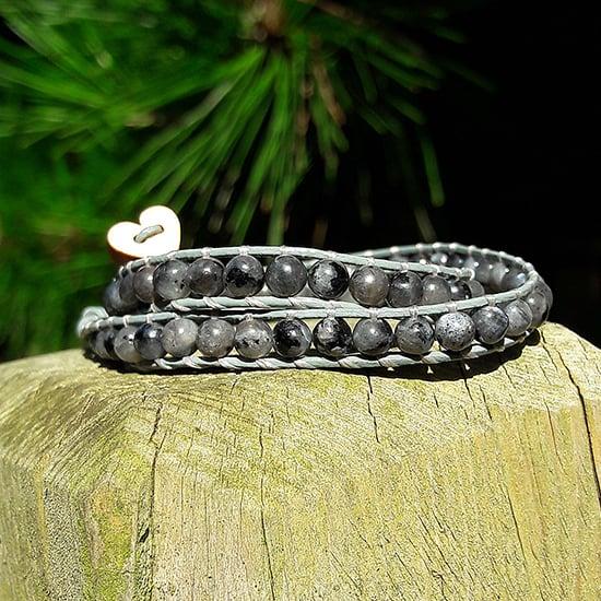 Image of Grey Larvikite Beads on Grey Leather Double Wrap Bracelet