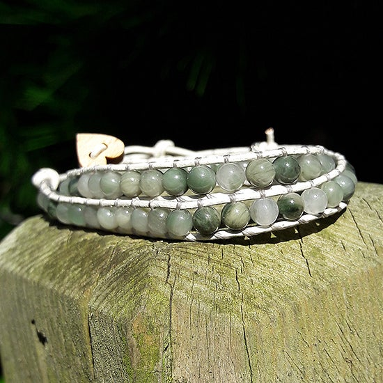 Image of Green Line Quartz Beads on White Leather Double Wrap Bracelet
