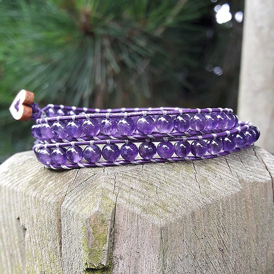 Image of Amethyst Beads on Purple Leather Beaded Wrap