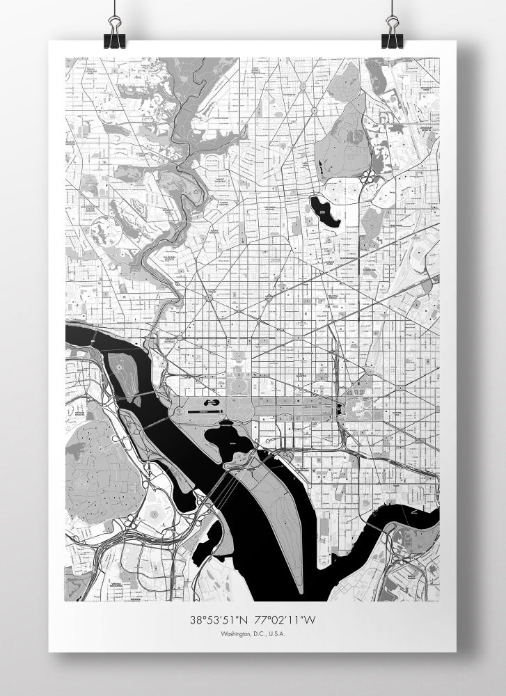 Image of Washington, D.C. Map Poster - B&W