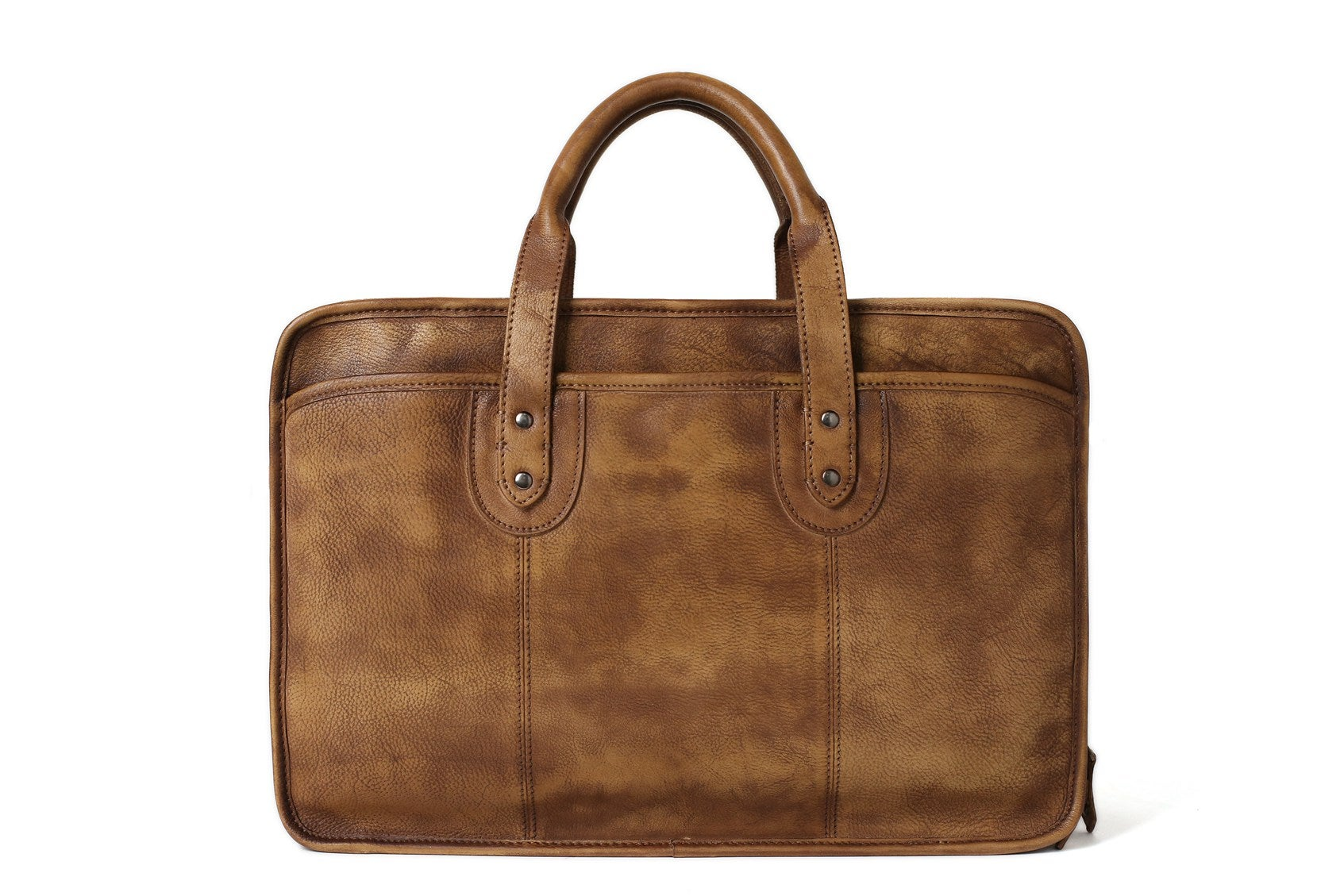 Handmade Vintage Full Grain Leather Mens Briefcase 16 Laptop Bag Business Handbag Nz01