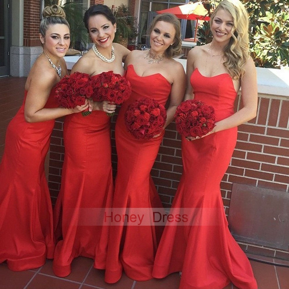 Image of  Red Sweetheart Satin Mermaid Long Bridesmaid Dresses, Red Strapless Party Dress