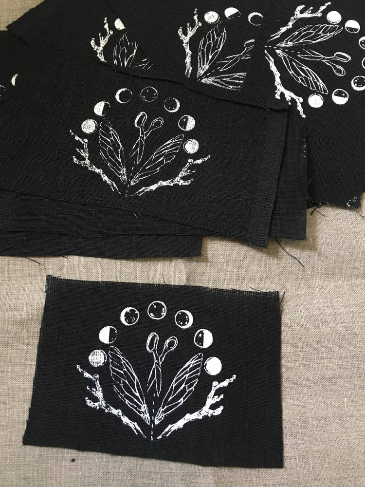 Image of Screen Printed Patch - Moon Phases etc on Black Linen