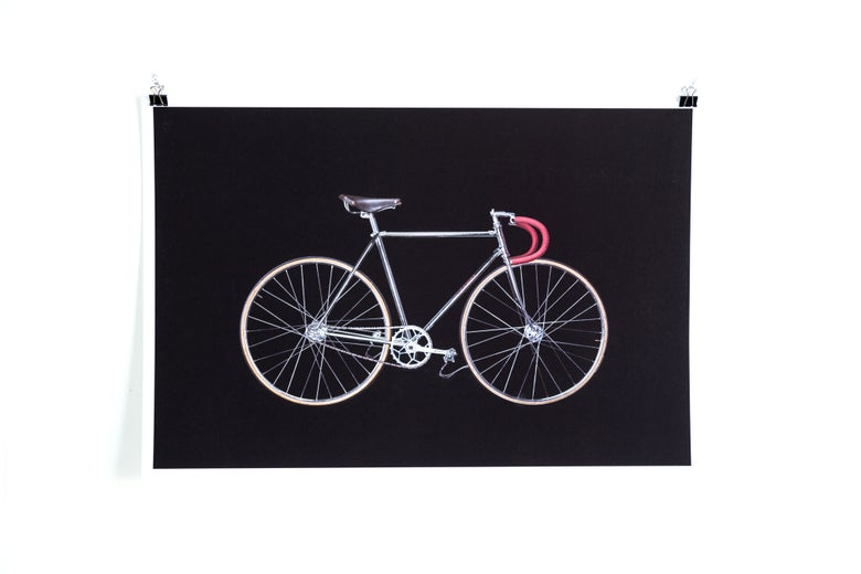 Image of Bikes on Black - Chrome Carlton Track Giclée Print