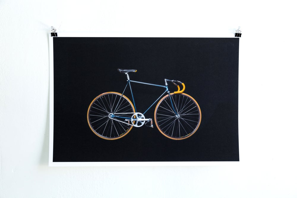 Image of Bikes on Black - Blue/Yellow Track Bike Giclée Print