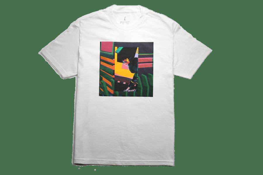 "Image of White ""W(EYE) by Ru AREYOU"" T-shirt"