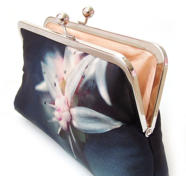 Starflower clutch bag, printed silk flower navy handbag - Red Ruby Rose