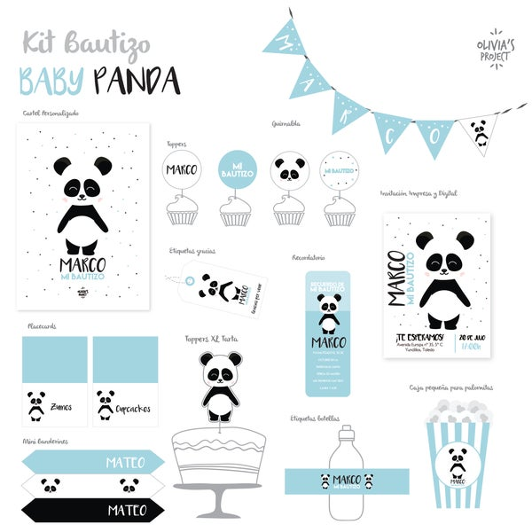 Image of Kit Bautizo Baby Panda
