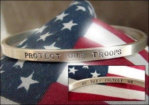 "Image of ""Protect Our Troops ~ As They Protect Us"" Sterling Bracelet"