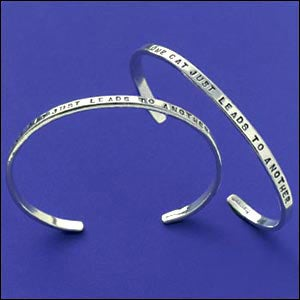 "Image of ""One Cat Just Leads to Another"" Sterling Bracelet"