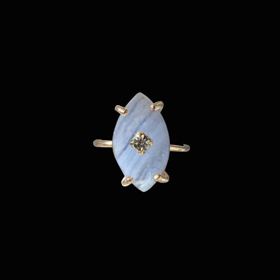 Image of Marquise Blue Lace Agate Ring