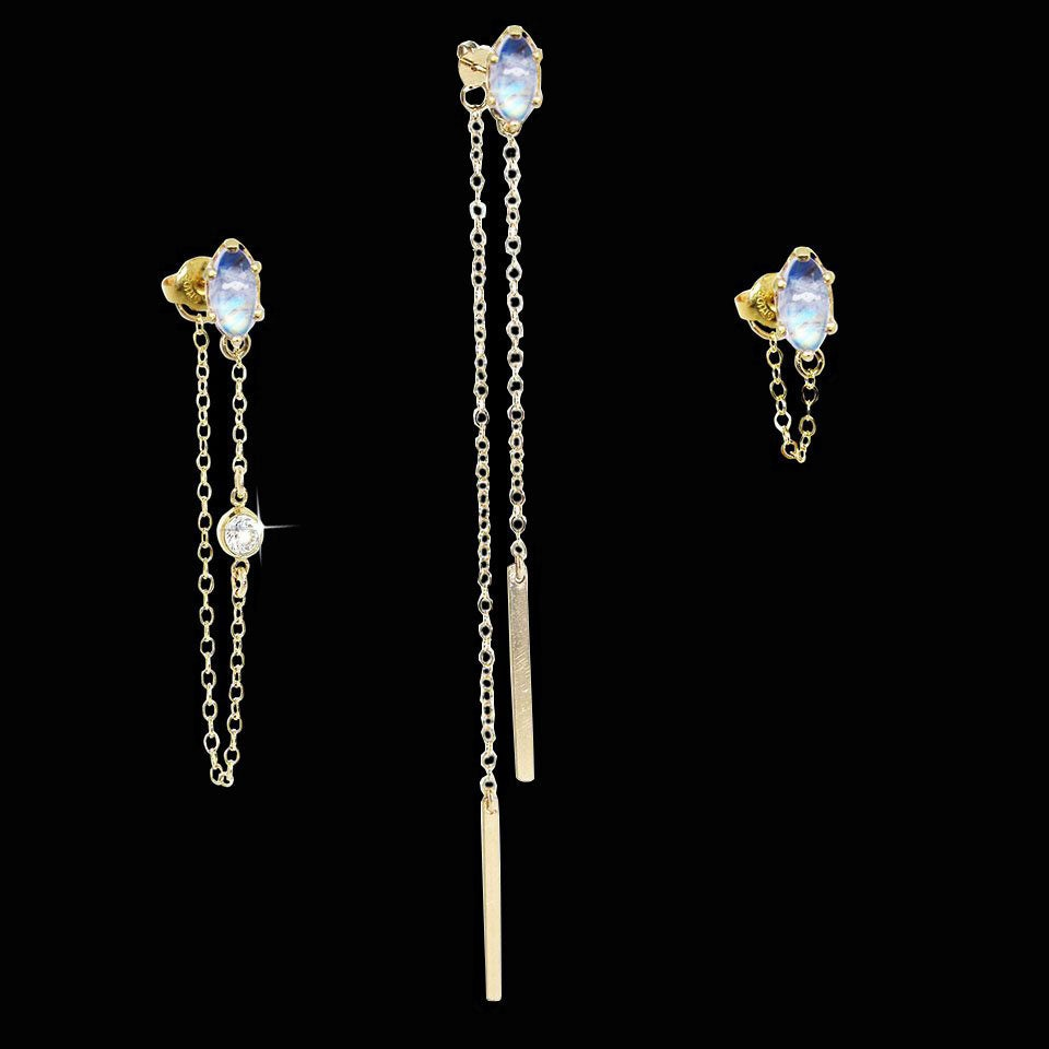 Image of Rainbow Moonstone Ear Jackets