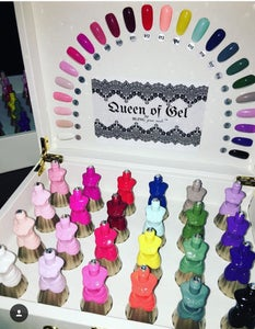 Image of Queen of gel Japanese gel polish Exclusive collection All 24 colors w/white golden carrying case