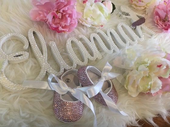 Image of Pearl embellished name plaque