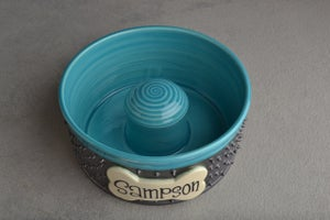 Image of Spiky Slow Feeder Dog Bowl by Symmetrical Pottery