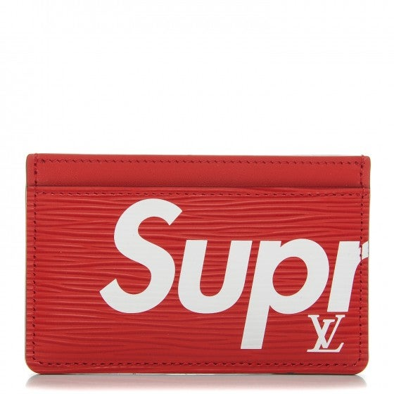 new product a4086 09e87 Louis Vuitton X SUPREME Epi Card Holder Wallet Red