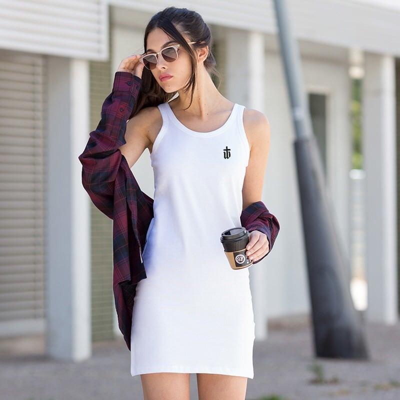 Image of LADIES TANK DRESS WHITE