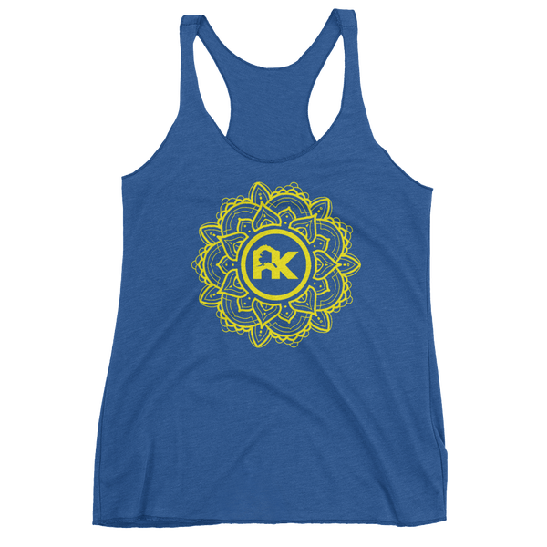 Image of Women's Mandala Logo Tank - Blue/Yellow