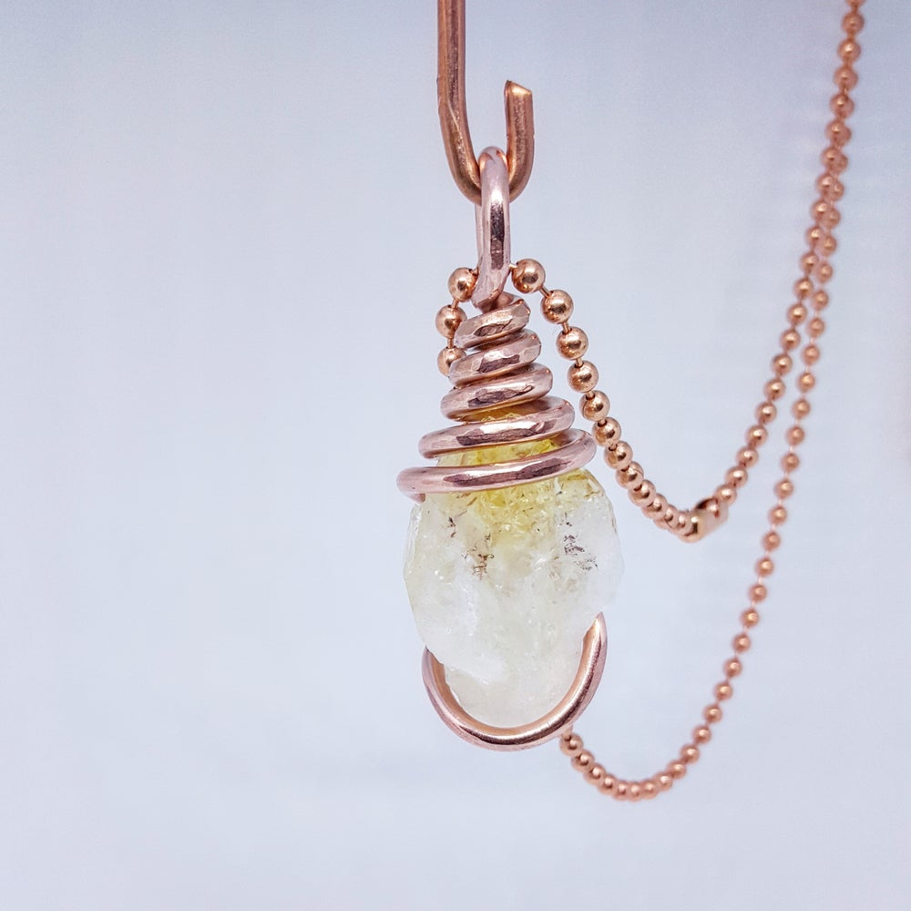 Image of Copper Wrapped Citrine Necklace