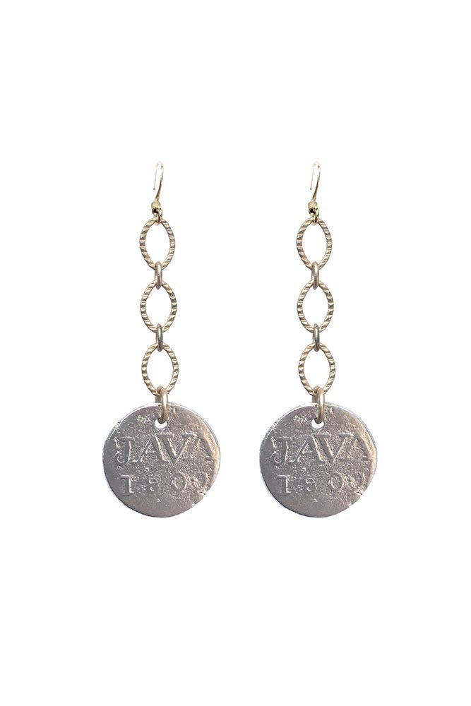 Image of Two Tone Coin Drop Earrings