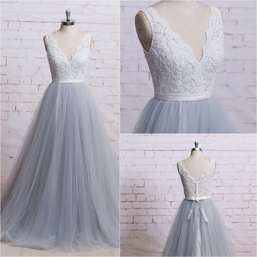 Grey Tulle V-neckline Long Prom Dresses, Grey Wedding Gowns, Formal Dresses
