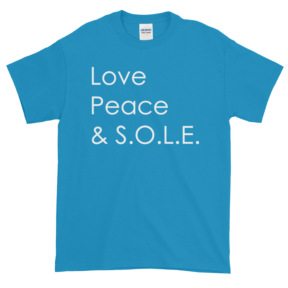 Image of Love, Peace & S.O.L.E. Unisex Tee Bright Blue
