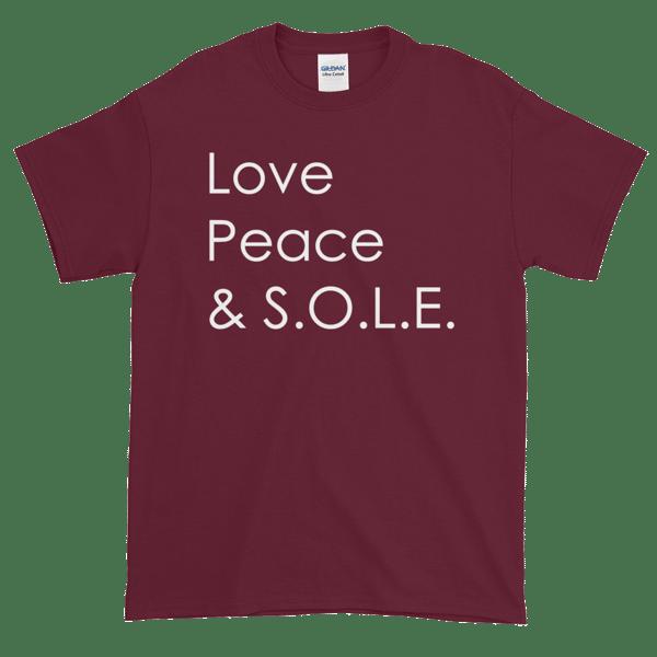 Image of Love, Peace & S.O.L.E. Unisex Tee Merlot