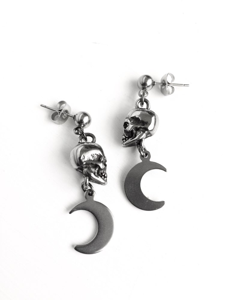 Image of SKULL AND MOON EARRINGS